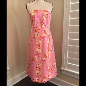 Lilly Pulitzer  Strapless Tie Dress Pink Floral 6